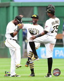Starling Marte, Andrew McCutchen, & Gregory Polanco 2016 Action Photo