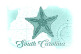 South Carolina - Starfish - Teal - Coastal Icon Prints by  Lantern Press