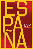 Espana- Vertical Stacked Crimson Fan Sign Prints