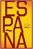 Espana- Vertical Stacked Gold Fan Sign Photo