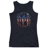 Juniors Tank Top: Batman- Graffiti Flag Shield T-Shirt