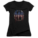 Juniors: Batman- Graffiti Flag Shield V-Neck T-shirts