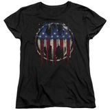 Womans: Batman- Graffiti Flag Shield T-shirts