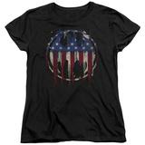 Womens: Batman- Graffiti Flag Shield T-shirts