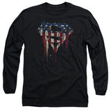 Long Sleeve: Superman- Graffiti Flag Shield Shirts
