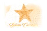 South Carolina - Starfish - Yellow - Coastal Icon Print by  Lantern Press