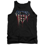 Tank Top: Superman- Graffiti Flag Shield Tank Top