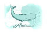 Alabama - Whale - Teal - Coastal Icon Posters by  Lantern Press