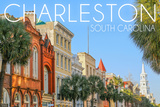 Charleston, South Carolina - Colorful Buildings Art by  Lantern Press