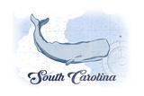 South Carolina - Whale - Blue - Coastal Icon Prints by  Lantern Press