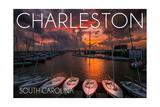 Charleston, South Carolina - Harbor and Sunset Prints by  Lantern Press
