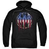 Hoodie: Batman- Graffiti Flag Shield Pullover Hoodie