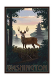 Washington - Deer and Sunrise Poster by  Lantern Press