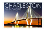 Charleston, South Carolina - Arthur Ravenel Jr. Bridge at Sunset Prints by  Lantern Press