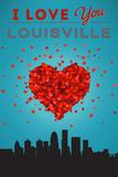I Love You Louisville, Kentucky Art by  Lantern Press