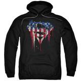 Hoodie: Superman- Graffiti Flag Shield Pullover Hoodie