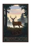 Minnesota - Deer and Sunrise Prints by  Lantern Press