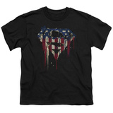 Youth: Superman- Graffiti Flag Shield T-shirts