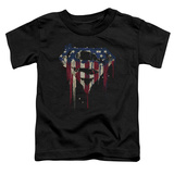 Toddler: Superman- Graffiti Flag Shield T-Shirt
