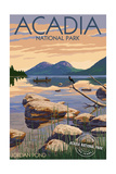 Acadia National Park, Maine - Celebrating 100 Years - Jordan Pond Poster by  Lantern Press