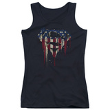 Juniors Tank Top: Superman- Graffiti Flag Shield Womens Tank Tops