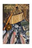 Minnesota - Fishing Still Life Print by  Lantern Press