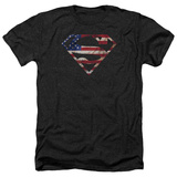 Superman- U.S. Flag Shield Distressed T-shirts