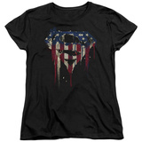 Womens: Superman- Graffiti Flag Shield T-shirts