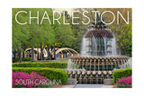 Charleston, South Carolina - Pineapple Fountain Print by  Lantern Press