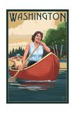 Washington - Canoers on Lake Prints by  Lantern Press
