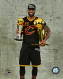 Lebron James with the NBA Championship & MVP Trophies Game 7 of the 2016 NBA Finals Photo