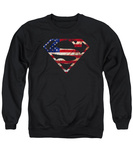 Crewneck Sweatshirt: Superman- U.S. Flag Shield Distressed T-shirts