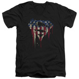 Superman- Graffiti Flag Shield V-Neck T-shirts