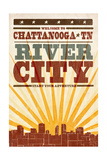 Chattanooga, Tennessee - Skyline and Sunburst Screenprint Style Print by  Lantern Press