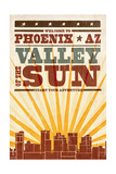 Phoenix, Arizona - Skyline and Sunburst Screenprint Style Posters by  Lantern Press