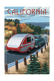 California - Retro Camper on Road Poster by  Lantern Press