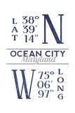 Ocean City, Maryland - Latitude and Longitude (Blue) Posters by  Lantern Press