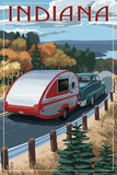 Indiana - Retro Camper on Road Art by  Lantern Press