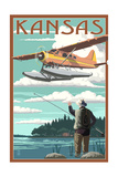 Kansas - Float Plane and Fisherman Art by  Lantern Press