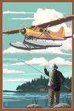Float Plane and Fisherman Prints by  Lantern Press