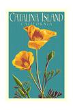 Catalina Island, California - Poppy - Letterpress Posters av  Lantern Press
