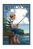 Wisconsin - Boy Fishing Posters by  Lantern Press