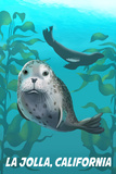 La Jolla, California - Harbor Seals Art by  Lantern Press