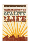 Murfreesboro, Tennessee - Skyline and Sunburst Screenprint Style Prints by  Lantern Press