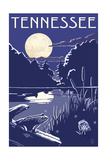 Tennessee - Lake at Night Print by  Lantern Press