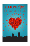 I Love You Omaha, Nebraska Poster von  Lantern Press