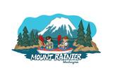 Seattle, Washington - Mt. Rainier - Cartoon Icon Posters by  Lantern Press