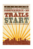 Independence, Missouri - Skyline and Sunburst Screenprint Style Prints by  Lantern Press
