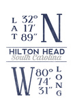 Hilton Head, South Carolina - Latitude and Longitude (Blue) Prints by  Lantern Press