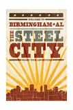 Birmingham, Alabama - Skyline and Sunburst Screenprint Style Poster von  Lantern Press
